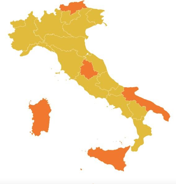 Mappa Italia: ER in zona gialla