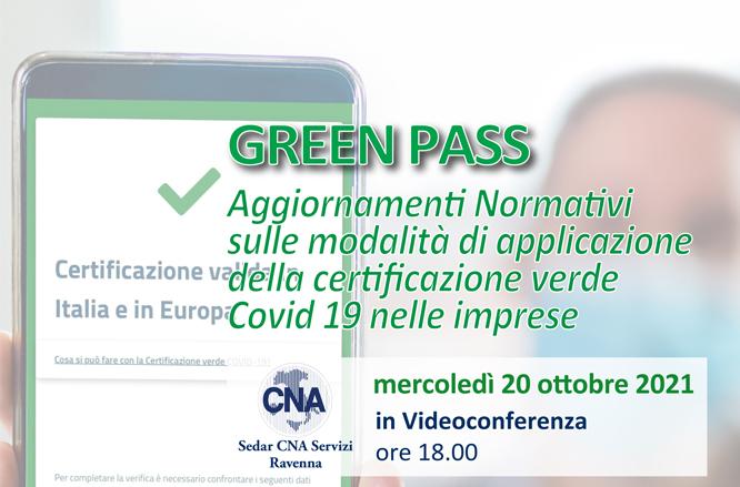 Green Pass: tutti gli aggiornamenti normativi in un webinar organizzato da CNA Ravenna il 20/10 ore 18